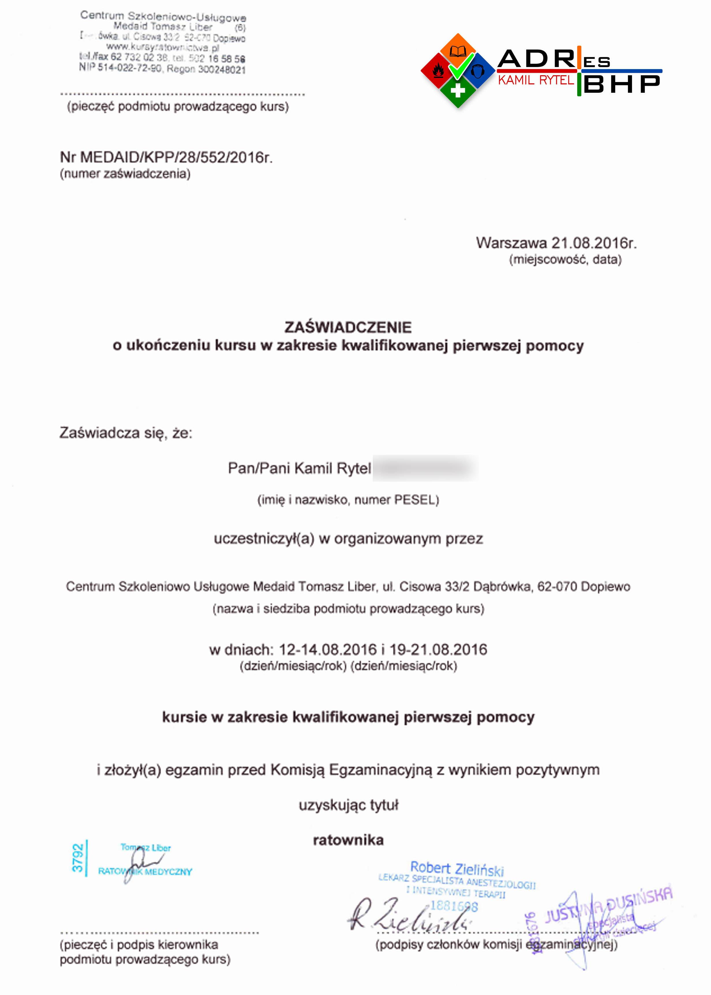 Uprawnienia Zaświadczenia I Certyfikaty Adresbhp